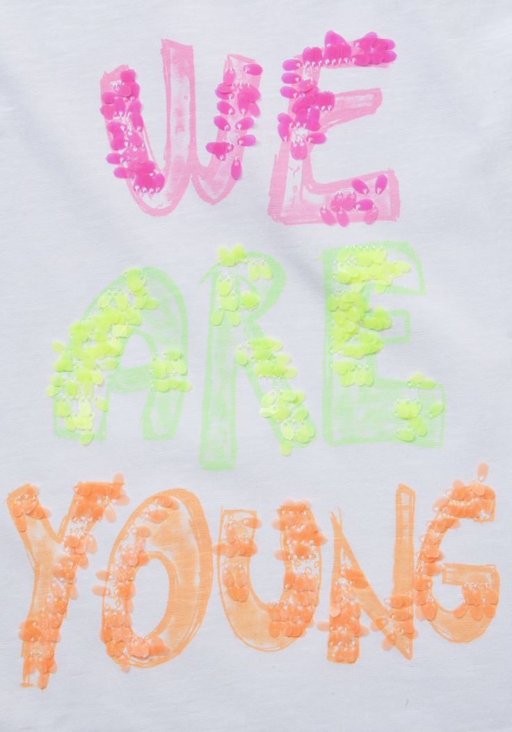 F Neon sequin We Are Young t-shirt