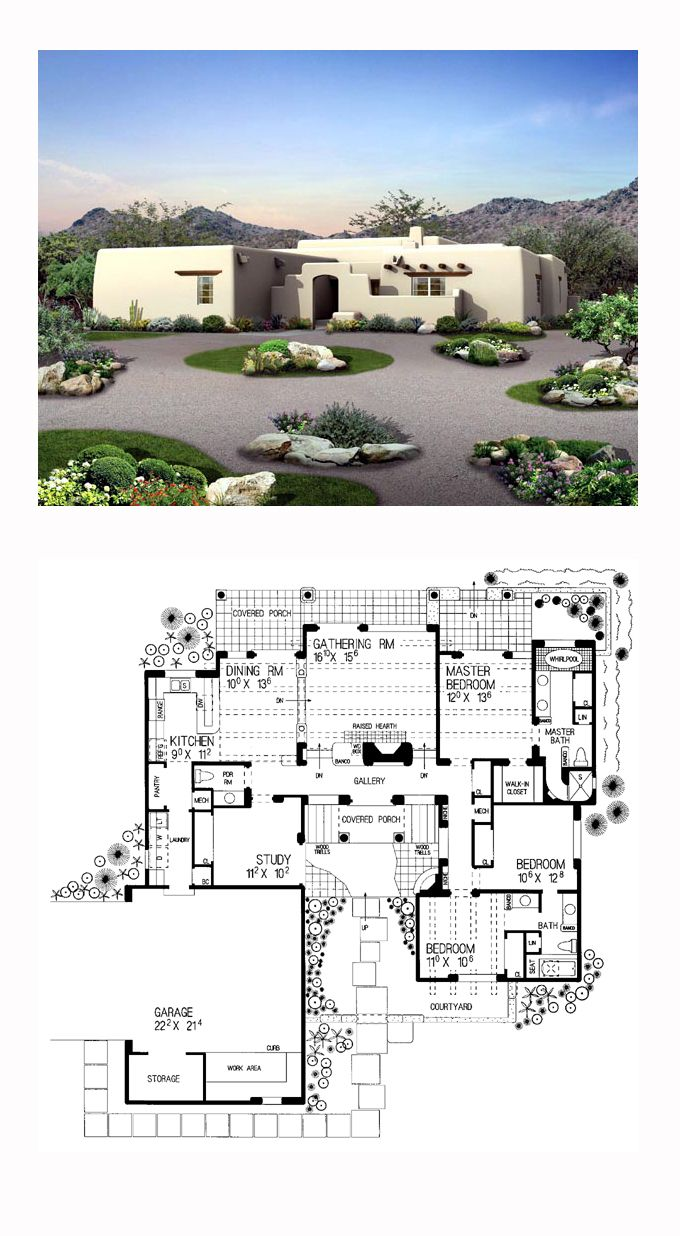 Southwest Style House Plan 90259 with 3 Bed , 3 Bath , 2