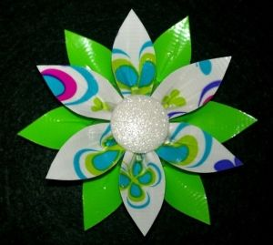 duck tape craft projects | duck tape flower by deena - make in red and white/green for christmas decor