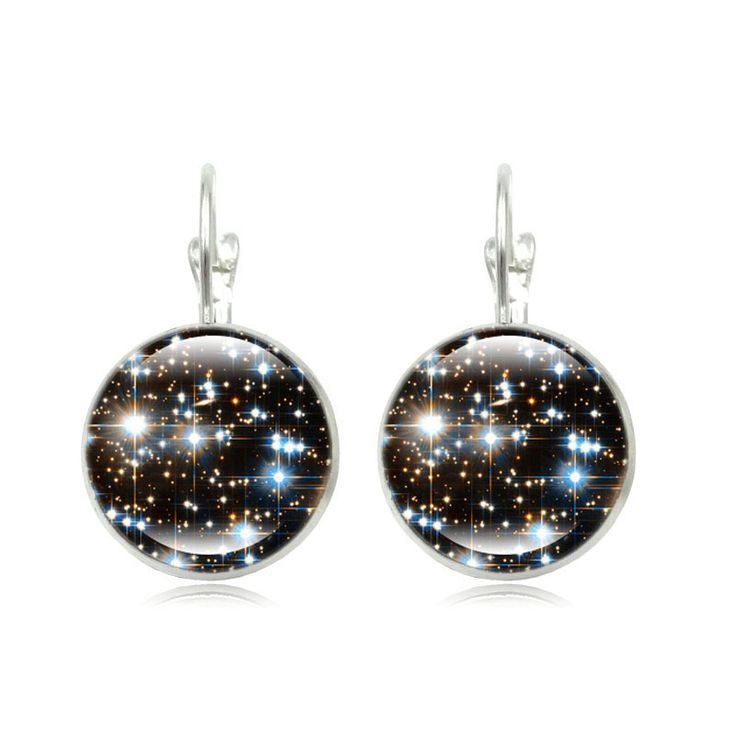 Fashion New 2015 Galaxy Space Stud Earring For Women Glass Cabachon Bezel Brincos Perola Art Photo Dome Round Earrings