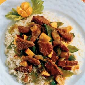 Curry Lamb Stir Fry can substitute any meat or poultry for the lamb.