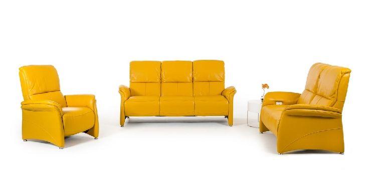 Yellow Italian Leather Sofa Set in Modern Style