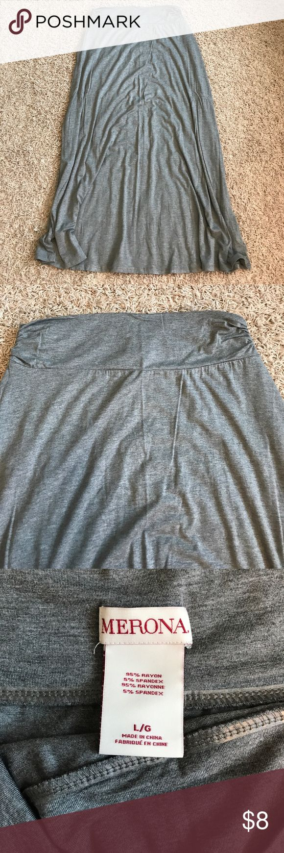 Merona Large gray Maxi Skirt Merona (Target brand) Large grey maxi skirt. Excellent condition. Runs big. Only worn a couple of times. Bundle and save with my other listings. Smoke free home. Merona Skirts Maxi