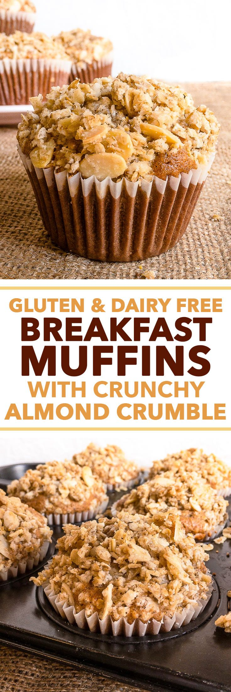 Gluten & Dairy Free Breakfast Muffins with Crunchy Almond Crumble {gluten, dairy, peanut & soy free} - These gluten & dairy free breakfast muffins have absolutely everything going for them – they are  (Ibs Diet Recipes)