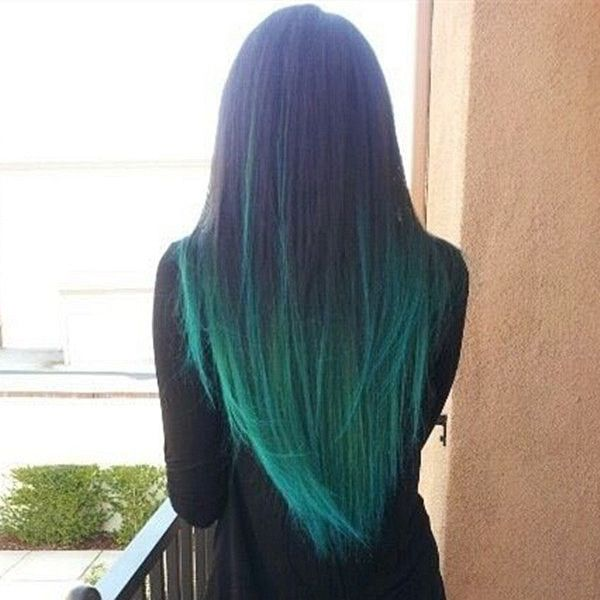Green mermaid colorful ombre hair extensions for black hair girls~ Good looking with long straight hair