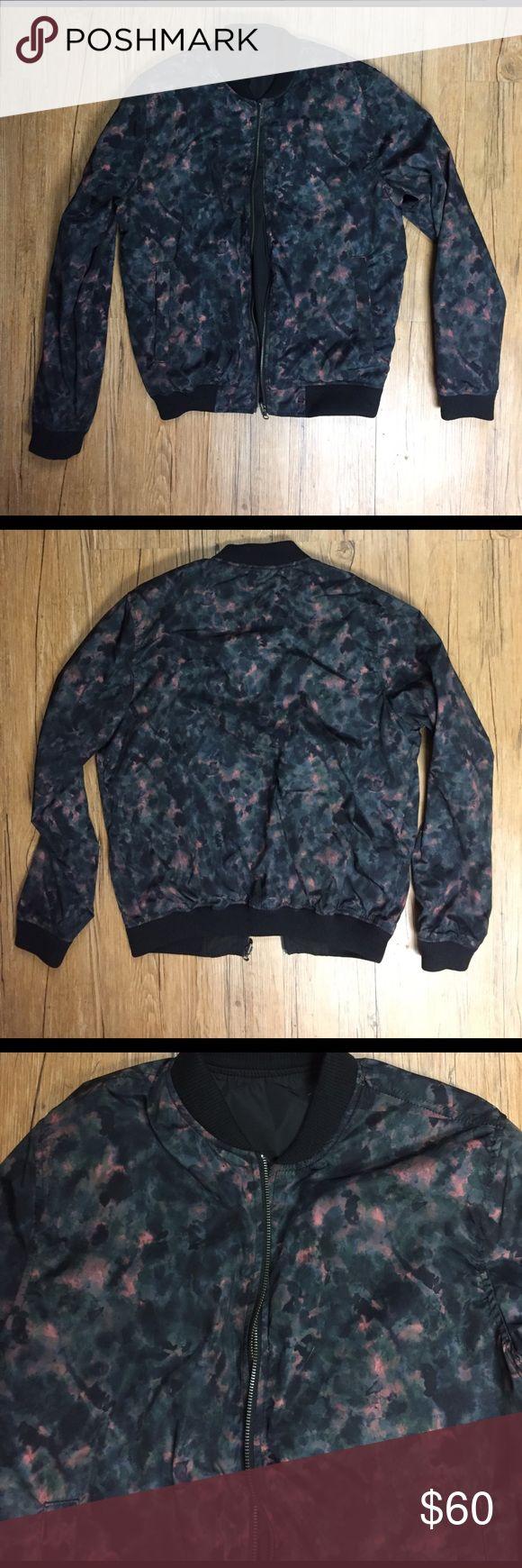 Unisex Topman reversible bomber jacket Reversible pink black green combo side and all black alternate, zip up jacket, great condition, Size Medium, 100% polyester, Topman Jackets & Coats Bomber & Varsity