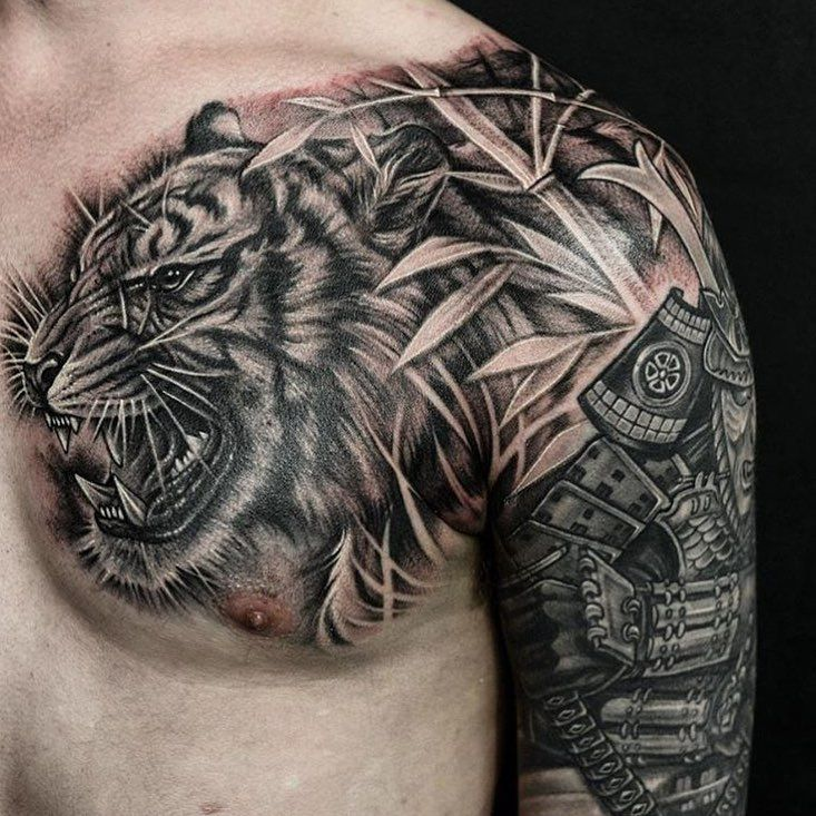 8f59e0dd7 Tiger and bamboo chest piece. With artist: @wt_tattoo Created: @chronicink