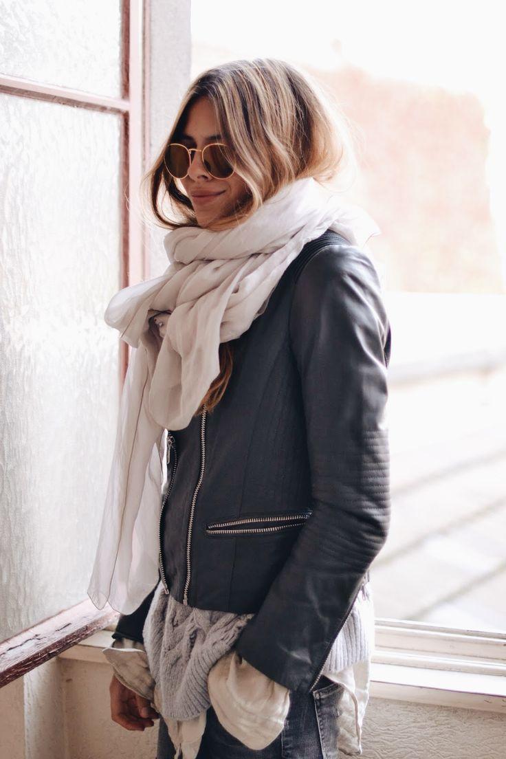big scarves + leather.