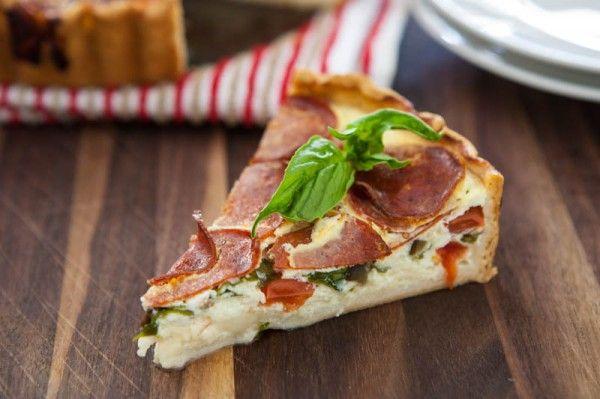 Peperoni Pizza Quiche  by EclecticRecipes.com #recipe