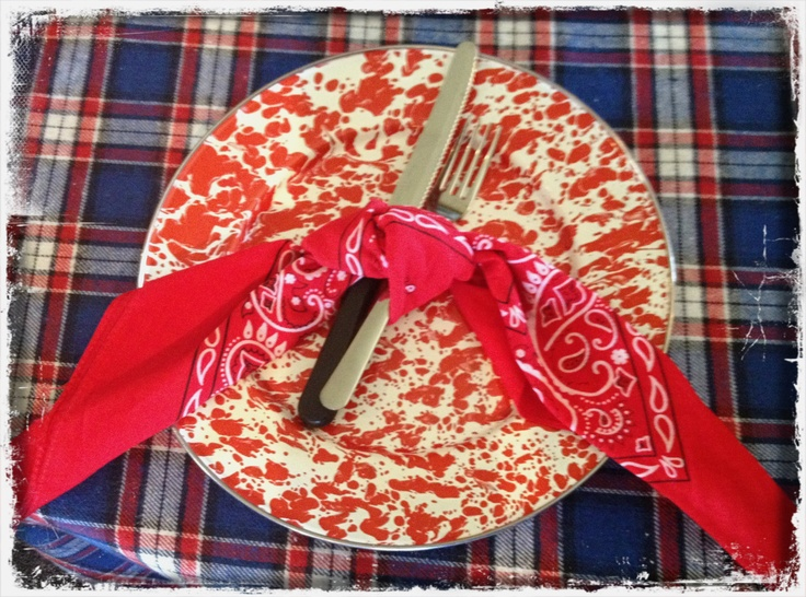 Check out these plates! Aren't they fun! Perfect for a country western themed party! Tie your silverware with a bandana for a special touch!