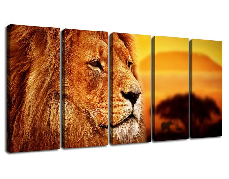 "ARTEWOODS Extra Large 5 Piece Canvas Art Lion Overlooking Sunset Tree African Elephant Background Painting Canvas, Contemporary Lion Artwork Canvas Prints Framed for Living Room Decoration 30"" x 70"""