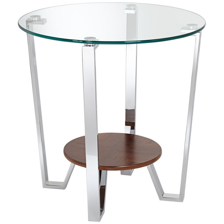 Nils Round Chrome And Glass End Table   Style # 8R677