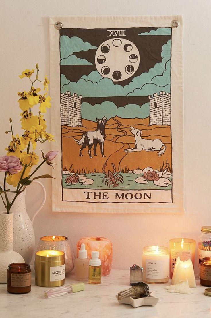 Tarot flag tapestry vintage tarot the moon tarot card