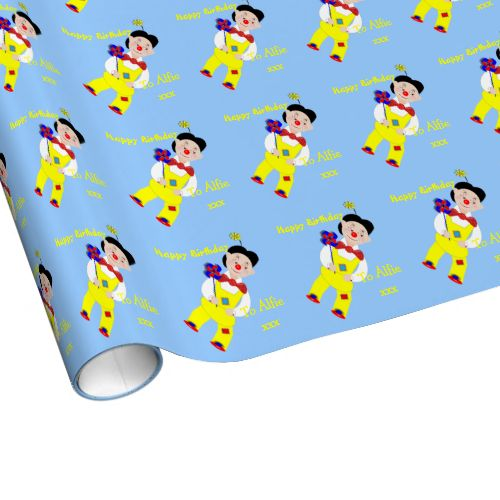 A favorite with little boys this cute circus clown themed happy birthday gift wrap with such a funny little clown in shades of blue, yellow and red, easy to personalize with a name for that extra special touch. #cute-kids-pictures #red #clown #clowns #circus #circus-clowns #funny-clowns #happy-pictures #circus-theme #clown-theme #blue #name #message #cute #themed-paper #personalized-gift-wrap #boys-paper #for-kids #childs-gift-wrap