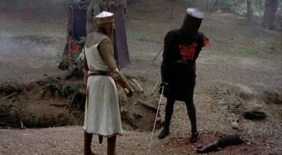 """Tis but a scratch!"" Monty Python and the Holy GrailMontypython, Holygrail, Middle School, Flesh Wounds, Black Knights, Holy Grail, Monty Python, Movie Quotes, Movie Line"