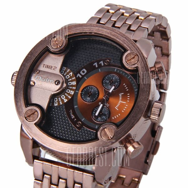 Oulm Popular Waterproof Men Watch Analog with Double-movt Round Dial Steel Watch Band WM0175202  - Thumbnail 1