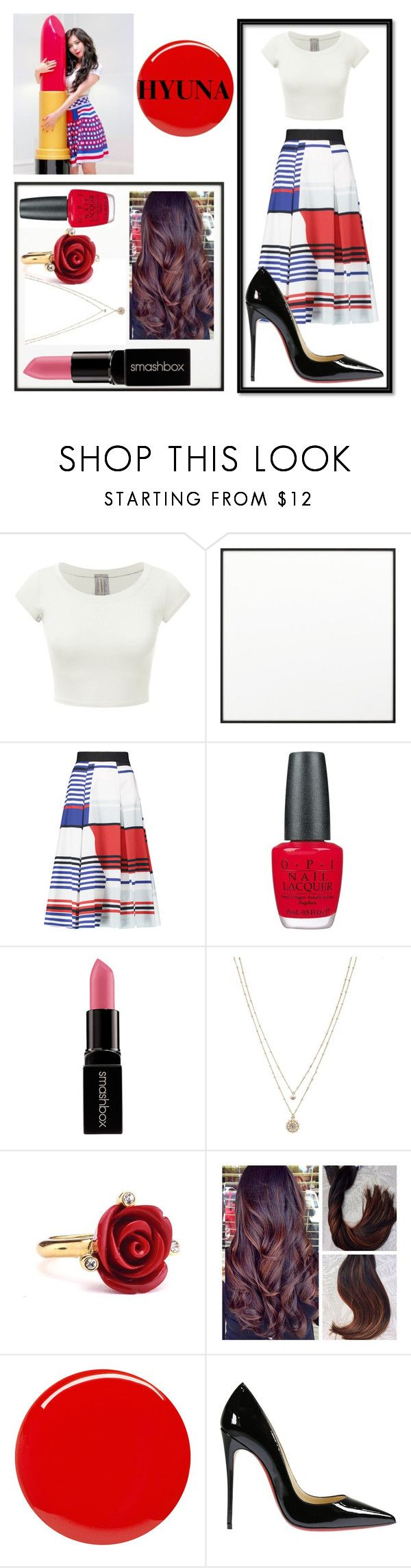 """HYUNA:Red Inspired pt.1"" by loves-5sos ❤ liked on Polyvore featuring By Lassen, Milly, OPI, Smashbox, LC Lauren Conrad, Oscar de la Renta, Yves Saint Laurent and Christian Louboutin"
