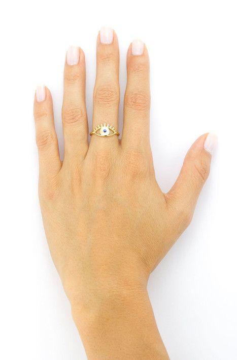 Evil Eye Ring Blue Hand