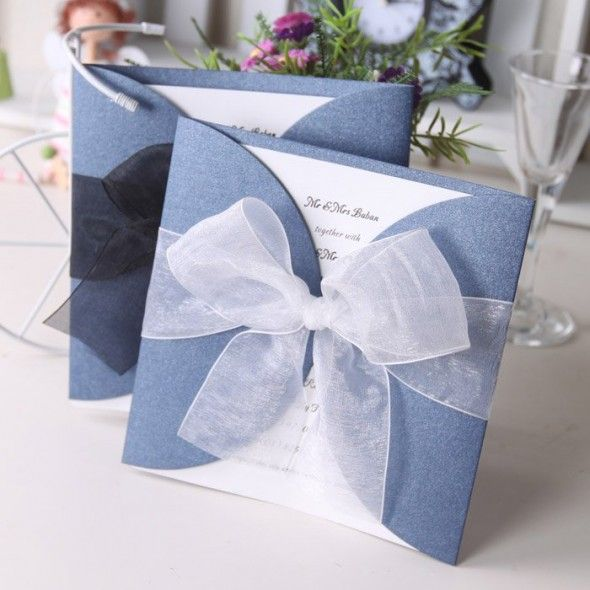 Wedding invitation card with ribbon 590x590 Creative Wedding Invitations   DIY Ideas