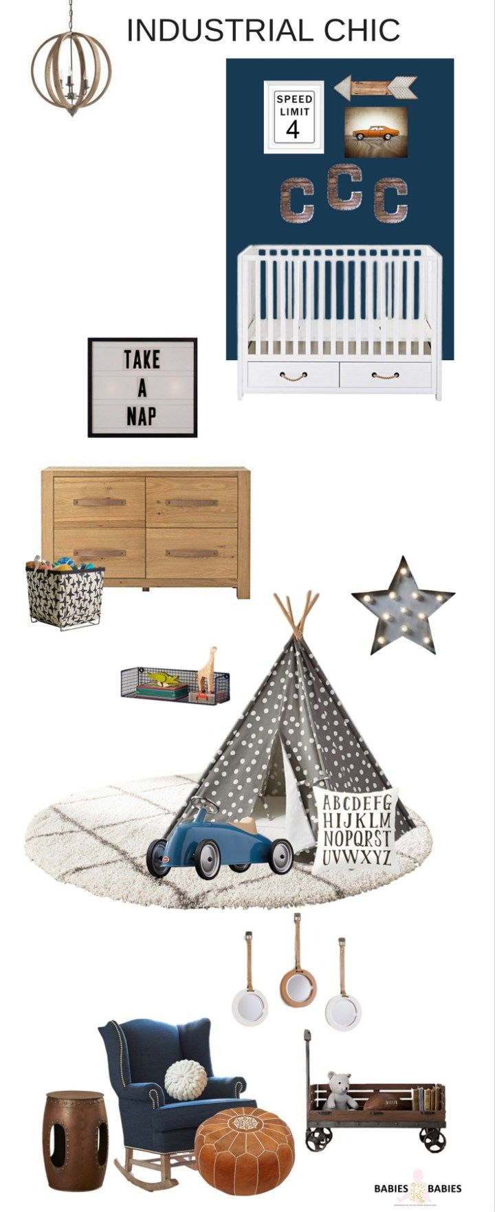 An industrial modern baby boy nursery design with aged woods, metallic finishes  , industrial accents creates an industrial nursery that's chic , bold and warm for a baby boy.
