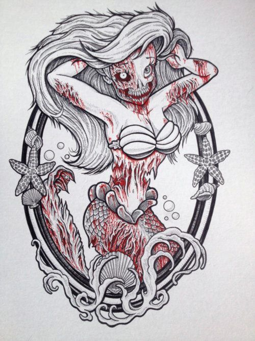 I want this tattoo done!Zombie Princess, Zombies Princesses, Mermaid Tattoo, Tattoo Flash, Art, Disney Zombie, The Little Mermaid, Zombies Ariel, Zombies Disney Princesses