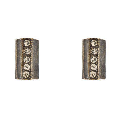 Black Diamond Swarovski Crystal Petite Rectangular Stud Earrings | KEWEL