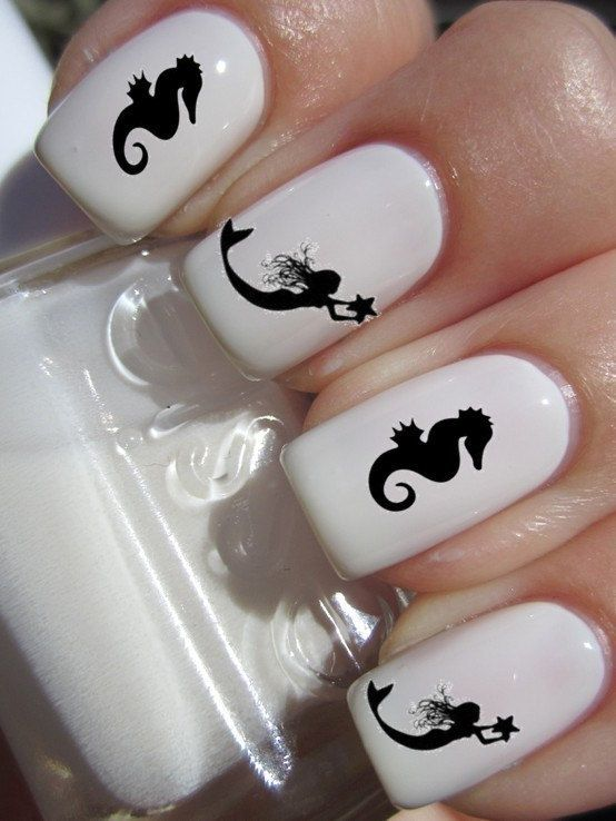 Mermaid and Seahorse Nail Decals 1 sheet of 12 decals by DulceGems, $4.00