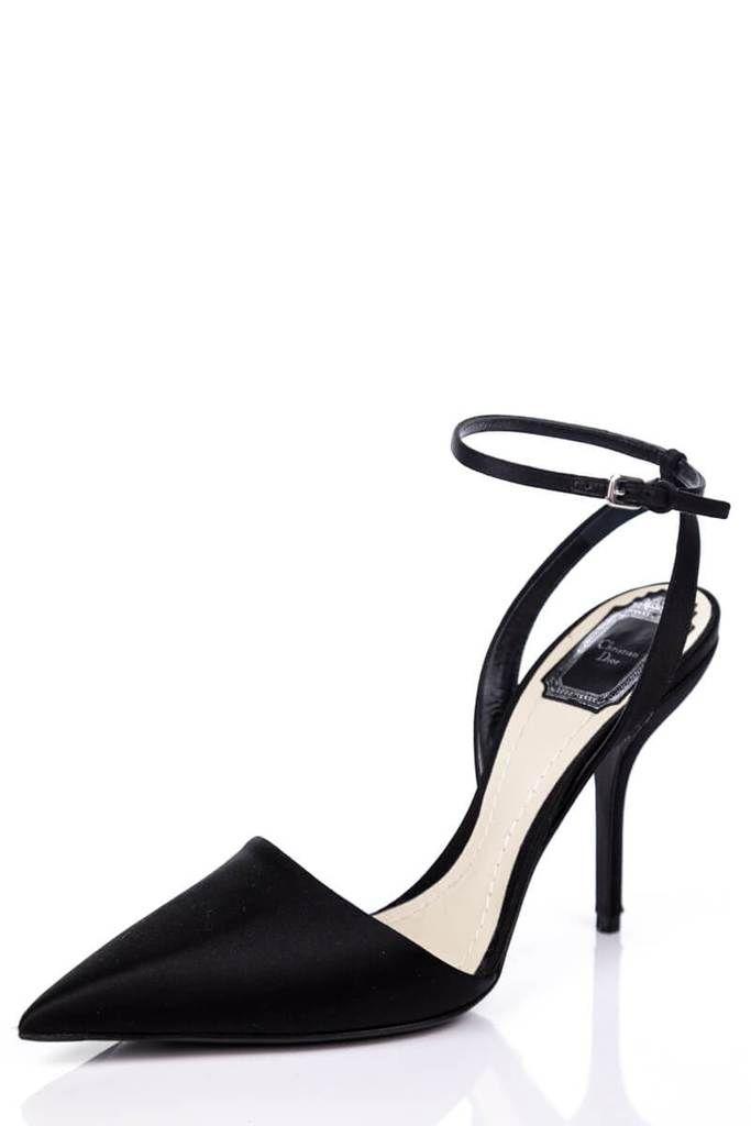 Dior Black Satin Ankle Strap Pumps