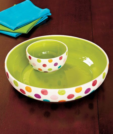 Ceramic chip and dip bowls. The inner bowl is set into the larger bowl so it stays in place. Great for chips and salsa, or fruit and dip.