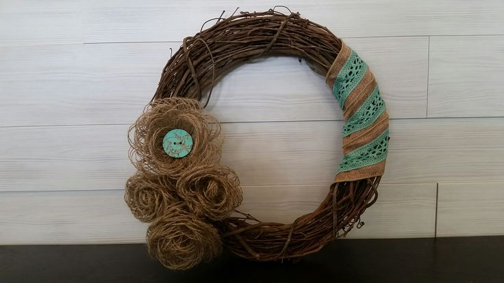 Grapevine Wreath with Burlap Flowers and Ribbon #wreath #wreathideas #burlap #ribbon #flowers #burlapflowers #teal #rustic
