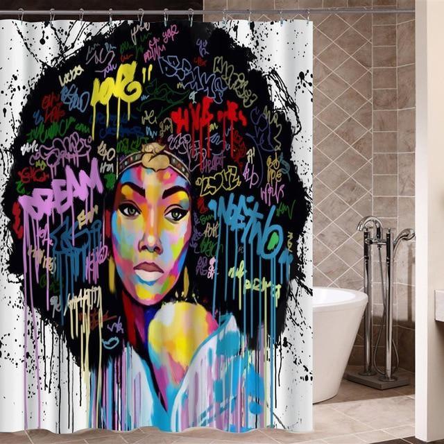 Graffiti Shower Curtain Hip Hop Street Art Print for Bathroom 72 Inches Long