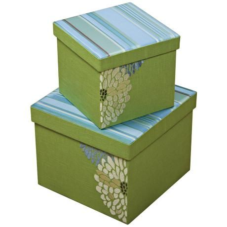Hide your stuff in plain site in pretty storage boxes! Set of 2 Fresca Square Embroidered Decorative Boxes