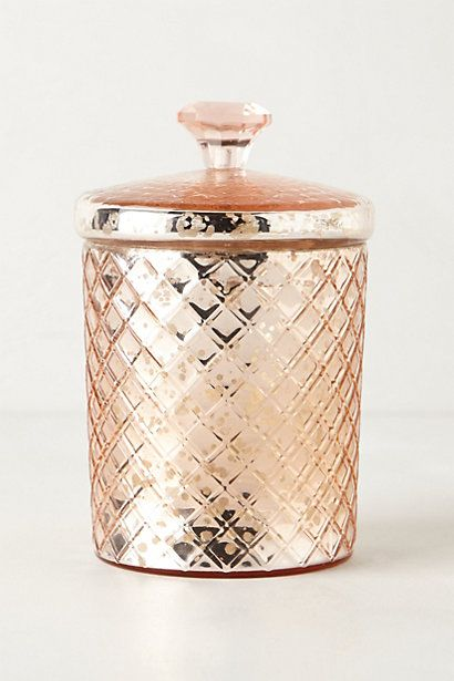 pink mercury glass jar: