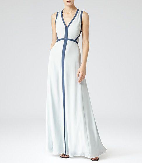 Womens Ice Blue Open Back Maxi Dress - Reiss Victoria Maxi