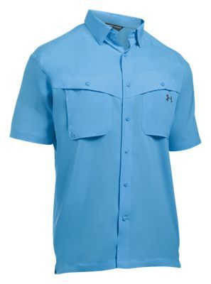 Under Armour Tide Chaser Short-Sleeve Fishing Shirt for Men - Carolina Blue/Rhino Gray - 2XL