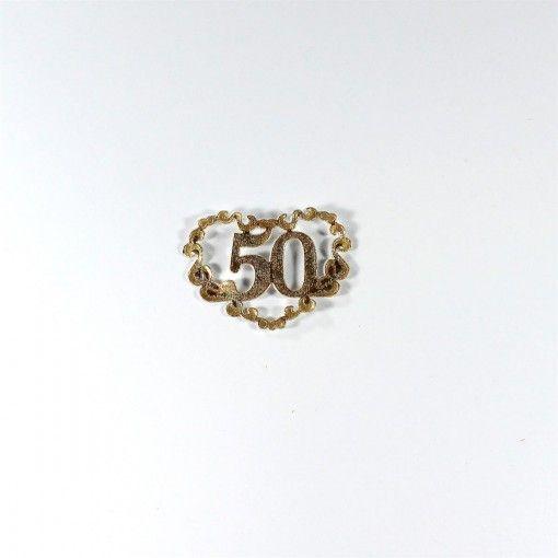 50 års mærke i guld. Sælges i pakke med 10 stk.