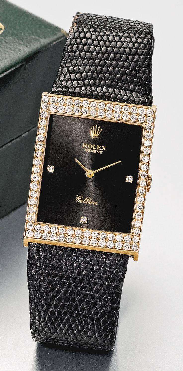 Rolex AN 18K PINK GOLD RECTANGULAR DIAMOND-SET WRISTWATCH CIRCA 1990 via: