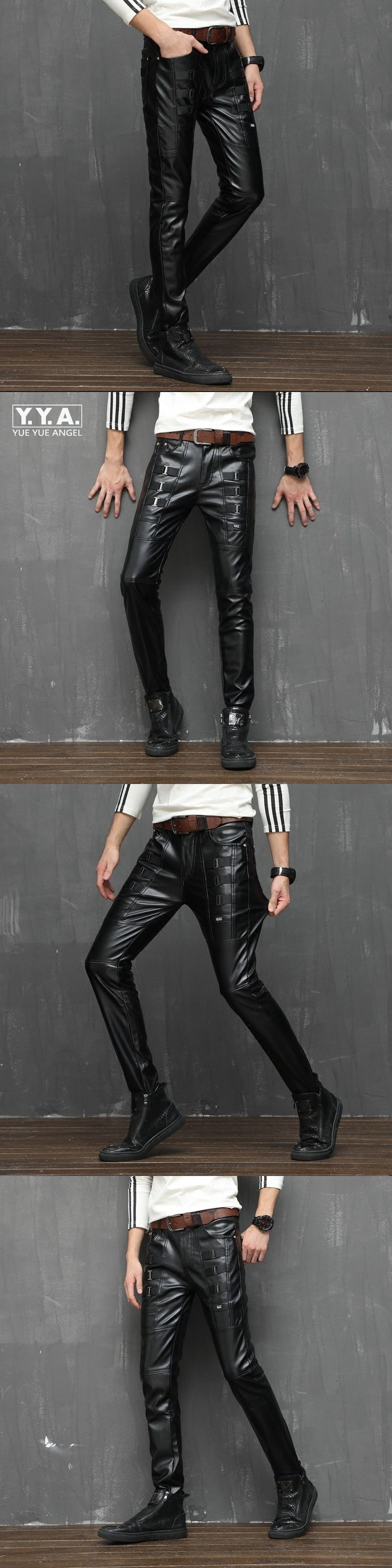 Personality Buckle Design Mens Punk Pu Leather Pants Rock Stage Show Male Trousers Winter Skinny Night Club Sexy Pantalon Hombre