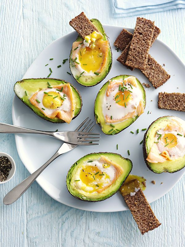 Baked avocado with smoked salmon & egg. Avocados are really versatile, try them baked with smoked salmon and egg for a quick, healthy brunch