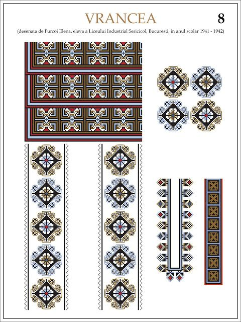 Semne Cusute: ie din VRANCEA (8)  Modele de ii Romanesti din caietul elevei Furcoi Elena, de la Liceul Industrial Sericicol Bucuresti, care a desenat aceste planse in clasa a VIII-a, anul scolar 1941 - 1942