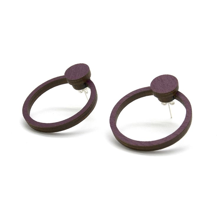 Classy ORB Knob Earrings in burgundy.