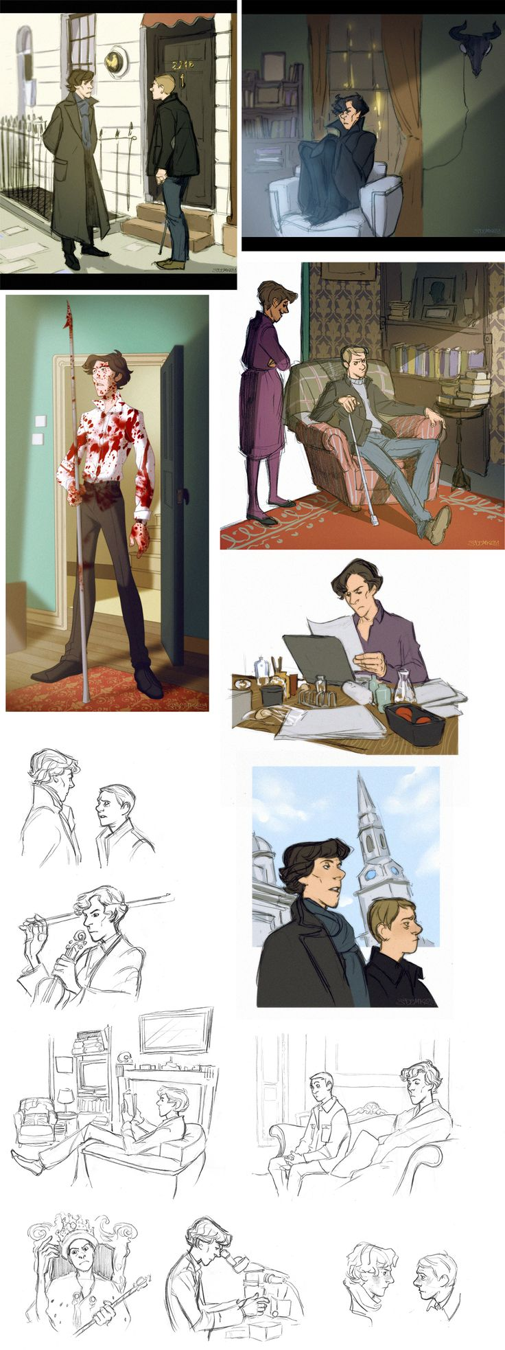 Some gorgeous, rather Disney-fied Sherlock fanart. I think this is probably my most favourite of all the fanarts I've seen.
