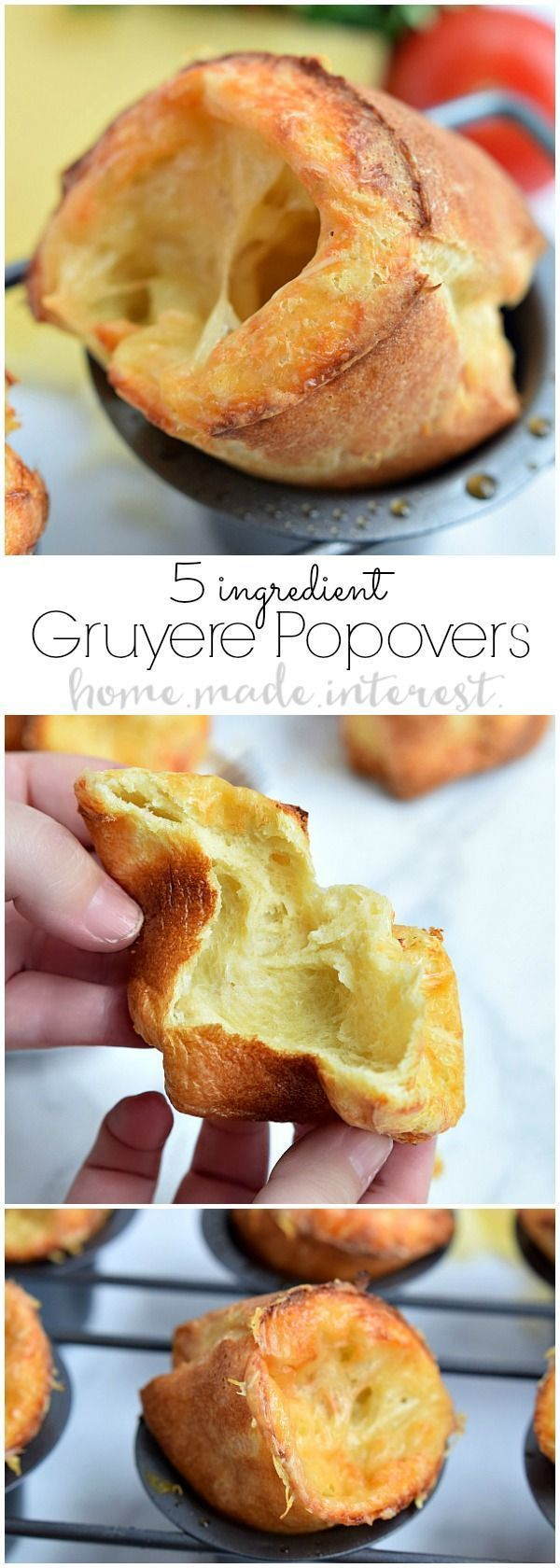 These easy Gruyere Popovers are a fluffy, cheesy popover recipe that would be the perfect bread to make for Thankgiving dinner or Christmas dinner! Popovers are actually a really easy bread recipe that always impresses guests! Make this bread for your nex