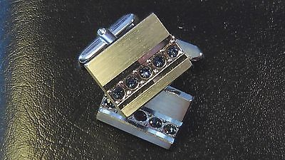 BOUTONS-DE-MANCHETTE-STRASS-VINTAGE-1970-NEUF-OLD-NEW-CUFF-LINKS