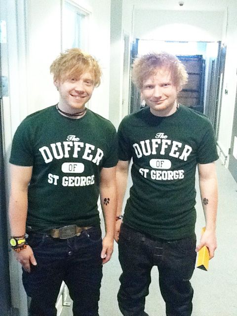 Ed sheeran and Rupert grint!!! <3 SO CUTE I CAN'T. For a split second I thought there were actually 2 Ed Sheerans.