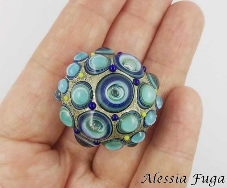 "Handmade focal lampwork glass bead in blue and light turquoise with bubbles, ""Fenice"" series di alessiafuga su Etsy"