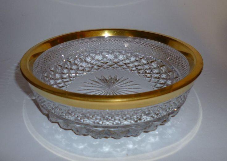 Josephinenhütte Ernestine Glas Kristallglas 1,7 Kg Goldrand 20,8cm ab 1936
