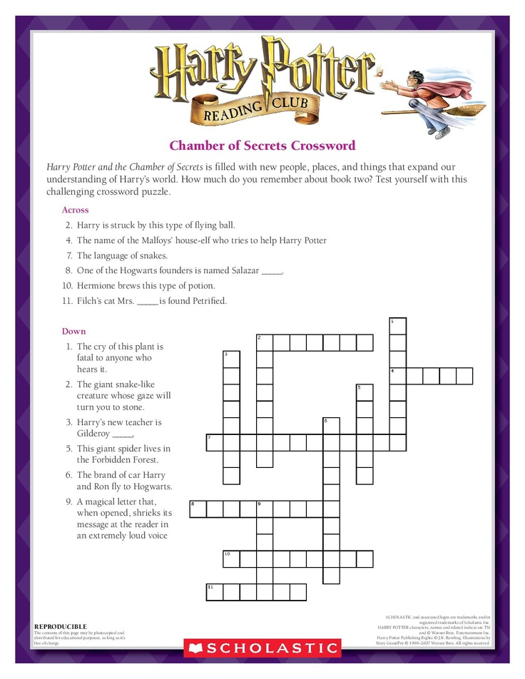 Harry Potter Book Quizzes Scholastic : Best ideas about halloween crossword puzzles on