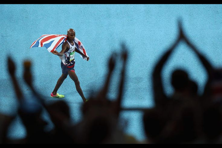 Mohamed Farah of Great Britain celebrates after winning the Men's 10,000m on Day 8 of the Rio 2016 Olympic Games at the Olympic Stadium on Aug. 13, 2016 in Rio de Janeiro, Brazil.Photo by Ezra Shaw/Getty