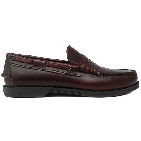 8329 Zapato mocasín con pasadas laterales y antifaz en piel marrón y con piso fino sport de Ashcroft   Calzados Garrido